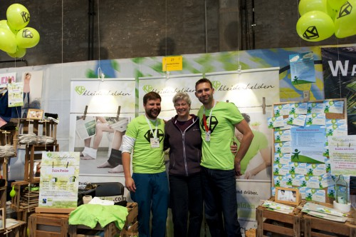Gerrit and Janos from kleiderhelden with Annette from Eco- and Upcycling-Market at Heldenmarkt Frankfurt